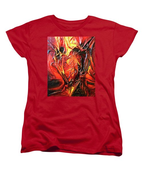 Women's T-Shirt (Standard Cut) featuring the mixed media Volcanic Fire by Angela Stout