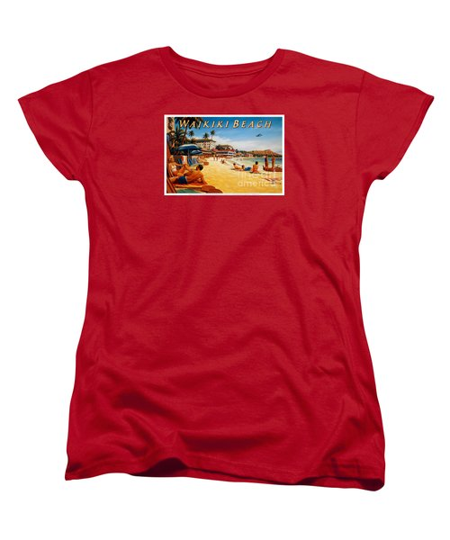Waikiki Beach Women's T-Shirt (Standard Cut) by Nostalgic Prints