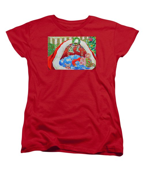 Women's T-Shirt (Standard Cut) featuring the painting Waiting For Santa by Li Newton
