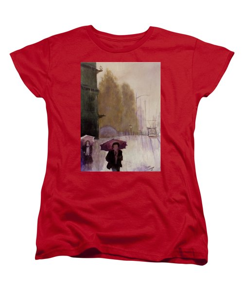 Women's T-Shirt (Standard Cut) featuring the painting Walking In The Rain by Dan Wagner