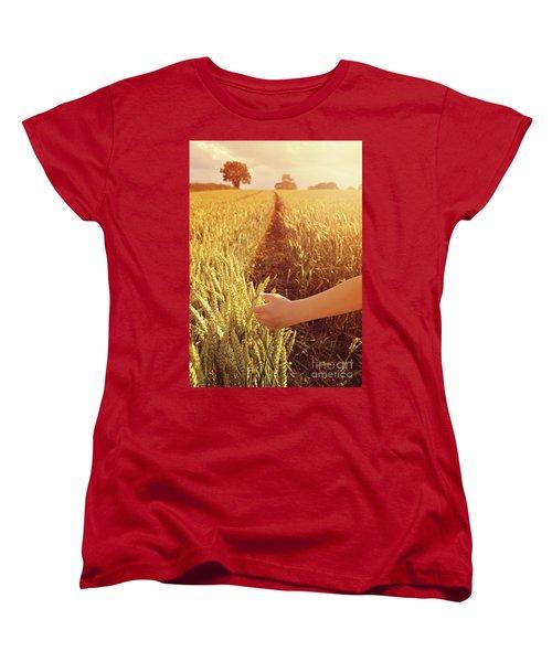 Women's T-Shirt (Standard Cut) featuring the photograph Walking Through Wheat Field by Lyn Randle