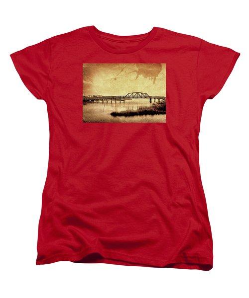 Walkway Over The Sound, Topsail Beach, North Carolina Women's T-Shirt (Standard Cut) by John Pagliuca
