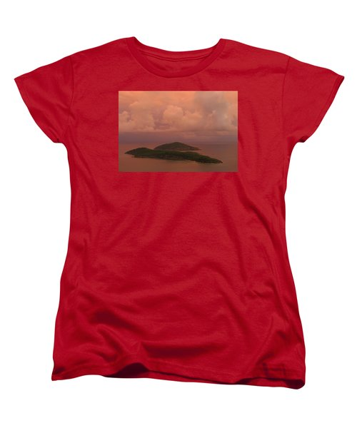 Women's T-Shirt (Standard Cut) featuring the photograph Warm Sunset Palette Of Inner And Outer Brass Islands From St. Thomas by Jetson Nguyen