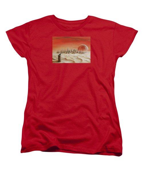 Women's T-Shirt (Standard Cut) featuring the painting Watcher by Arturas Slapsys