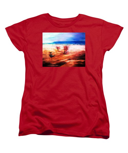 Women's T-Shirt (Standard Cut) featuring the painting Water And Earth by Winsome Gunning
