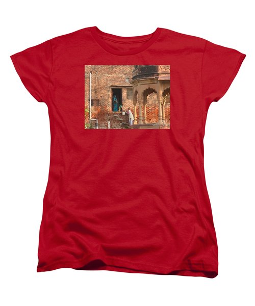 Women's T-Shirt (Standard Cut) featuring the photograph Water Delivery In Vrindavan by Jean luc Comperat