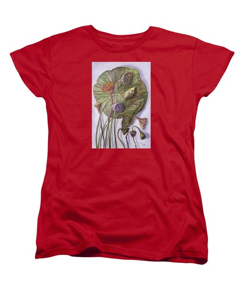 Water Lily Seed Pods Framed By A Leaf Women's T-Shirt (Standard Cut)
