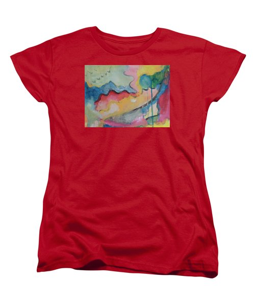 Women's T-Shirt (Standard Cut) featuring the digital art Watery Abstract by Susan Stone
