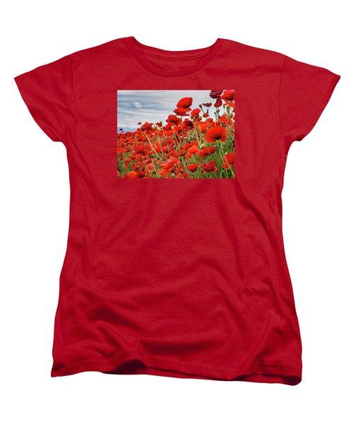Waving Red Poppies Women's T-Shirt (Standard Cut) by Jean Noren
