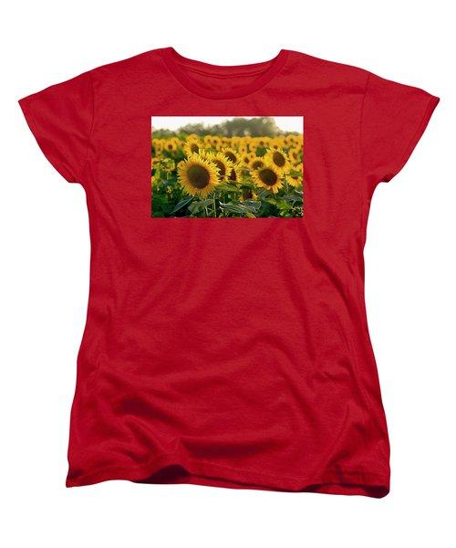 Waving Sunflowers In A Field Women's T-Shirt (Standard Cut) by Karen McKenzie McAdoo