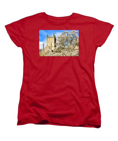 Women's T-Shirt (Standard Cut) featuring the photograph Wells Cathedral And Spring Blossom by Colin Rayner