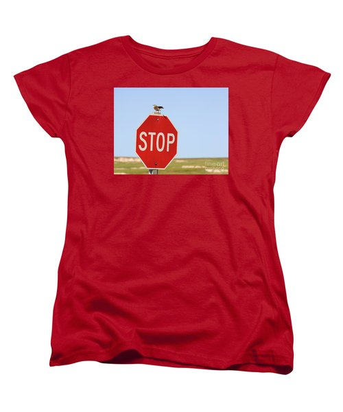 Western Meadowlark Singing On Top Of A Stop Sign Women's T-Shirt (Standard Cut) by Louise Heusinkveld
