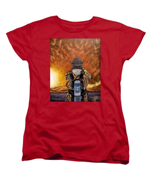Women's T-Shirt (Standard Cut) featuring the painting When Hell Comes To Visit by Dan Wagner