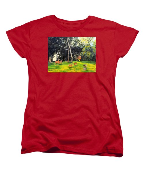 Women's T-Shirt (Standard Cut) featuring the painting When World's Collide by Kevin F Heuman