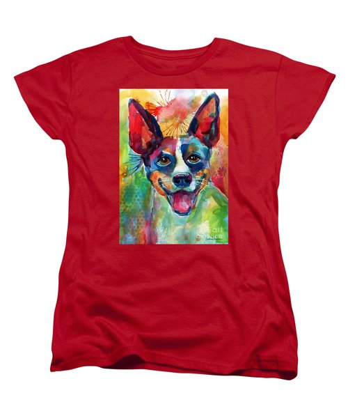 Whimsical Rat Terrier Dog Painting Women's T-Shirt (Standard Fit)