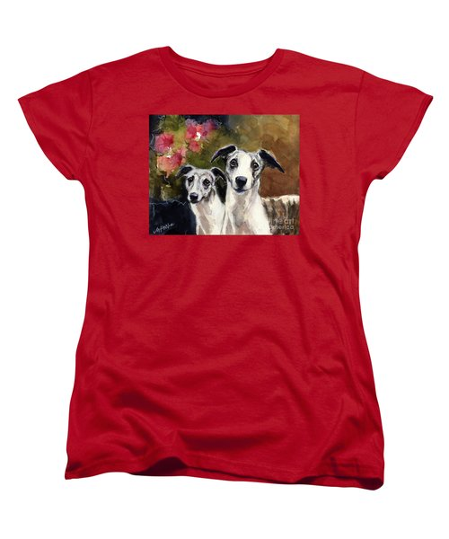 Women's T-Shirt (Standard Cut) featuring the painting Whippets by Molly Poole