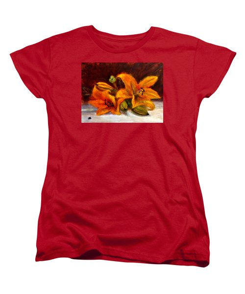 Women's T-Shirt (Standard Cut) featuring the painting Whispers Of Love..2 by Cristina Mihailescu