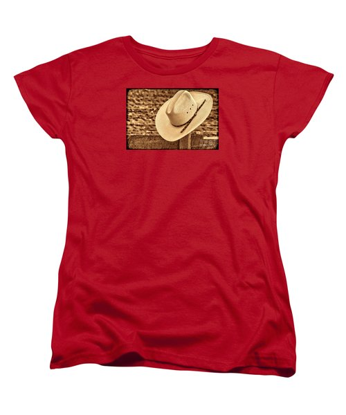 White Cowboy Hat On Fence Women's T-Shirt (Standard Cut) by American West Legend By Olivier Le Queinec