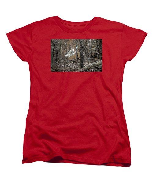 Women's T-Shirt (Standard Cut) featuring the photograph White Egret by David Bearden