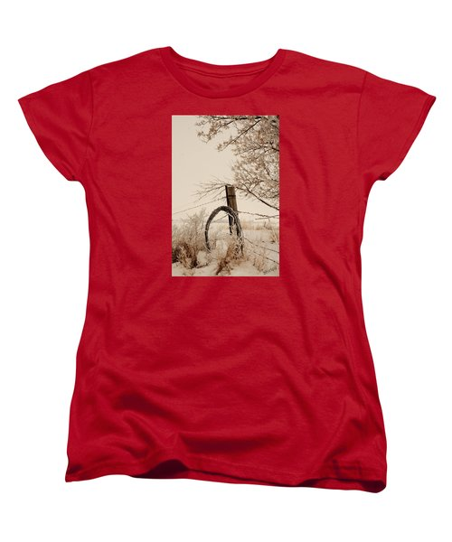 White Fence Women's T-Shirt (Standard Cut) by Shirley Heier