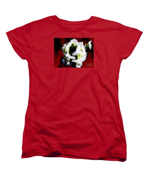 White Flower On Red Background Women's T-Shirt (Standard Cut) by Craig Walters