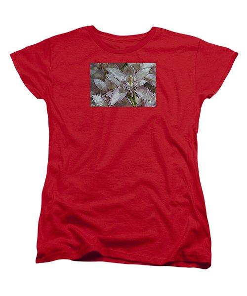White Orchid Flower Women's T-Shirt (Standard Cut) by Gary Crockett