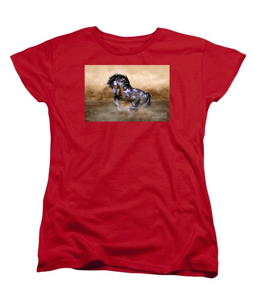 Women's T-Shirt (Standard Cut) featuring the digital art Wild And Free Horse Art by Shanina Conway