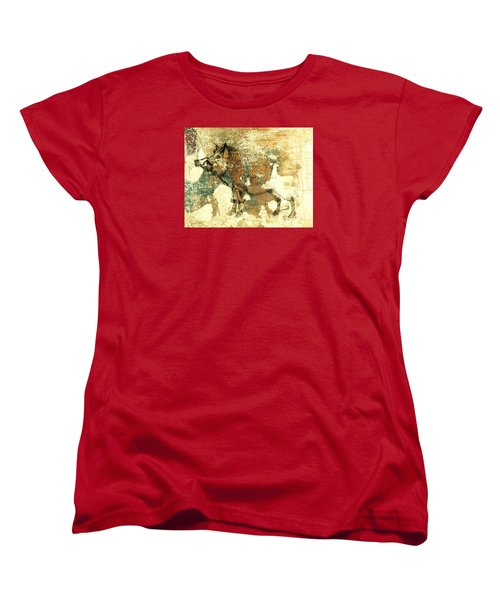 Women's T-Shirt (Standard Cut) featuring the drawing Wild Boar Cave Painting 1 by Larry Campbell