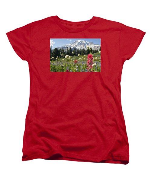 Wildflowers In Mount Rainier National Women's T-Shirt (Standard Cut) by Dan Sherwood