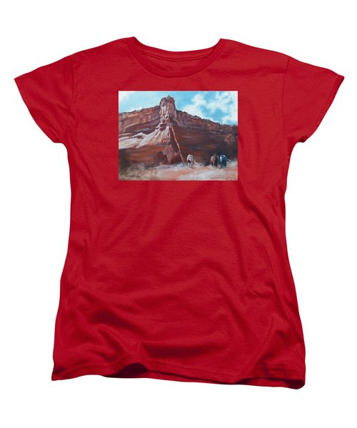 Women's T-Shirt (Standard Cut) featuring the painting Wind Horse Canyon by Karen Kennedy Chatham
