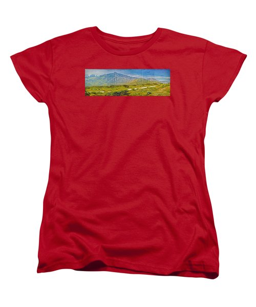 Women's T-Shirt (Standard Cut) featuring the photograph Wind Turbine Farm Palm Springs Ca by David Zanzinger