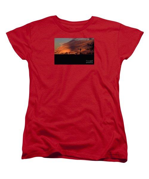 Women's T-Shirt (Standard Cut) featuring the photograph Windmill At Sunset by Mark McReynolds