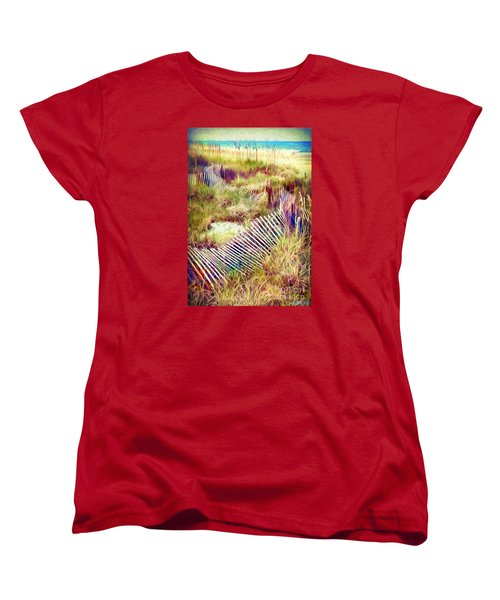 Women's T-Shirt (Standard Cut) featuring the digital art Windswept Fence Strokes by Linda Olsen