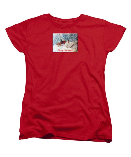 Winter Carriage In Central Park Christmas Card Women's T-Shirt (Standard Cut) by Loretta Luglio