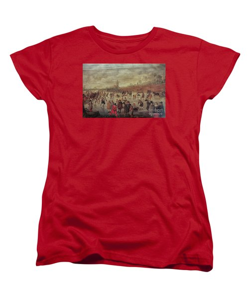 Women's T-Shirt (Standard Cut) featuring the photograph Winter Fun Painting By Barend Avercamp by Patricia Hofmeester