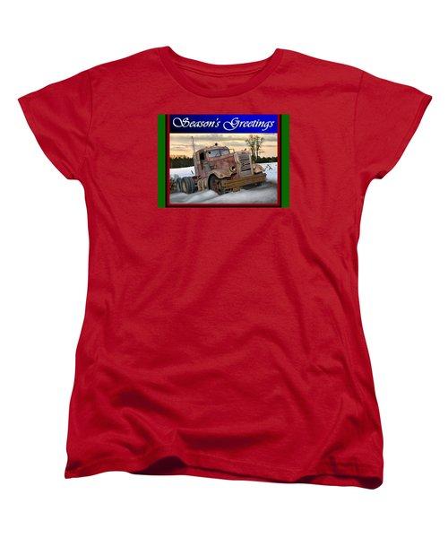 Winter Pete Season's Greetings Women's T-Shirt (Standard Cut) by Stuart Swartz