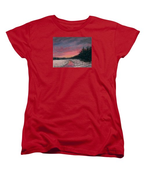 Women's T-Shirt (Standard Cut) featuring the painting Winter Sundown by Kathleen McDermott