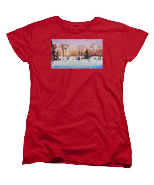 Women's T-Shirt (Standard Cut) featuring the painting Winter Sunrise by Geni Gorani