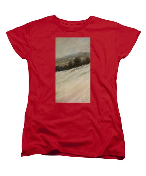 Women's T-Shirt (Standard Cut) featuring the painting Winter Twilight by Kathleen McDermott