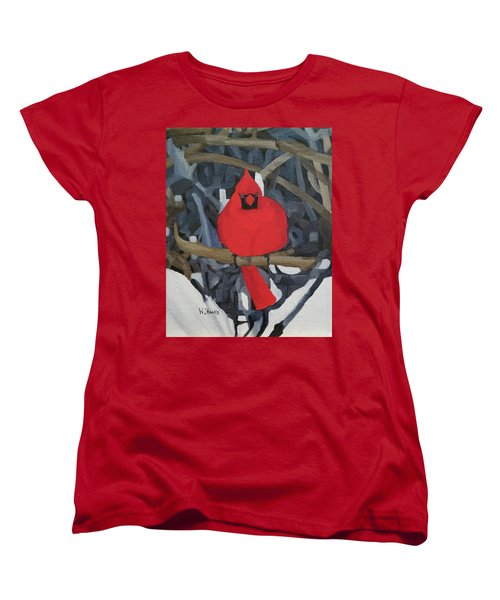 Women's T-Shirt (Standard Cut) featuring the painting Winters Refuge by Wendy Shoults