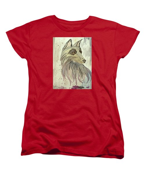 Women's T-Shirt (Standard Cut) featuring the painting Wolfie by Denise Tomasura