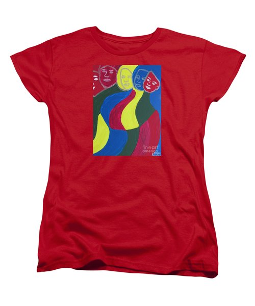 Women's T-Shirt (Standard Cut) featuring the painting Women - Who Are All Sisters by Mudiama Kammoh