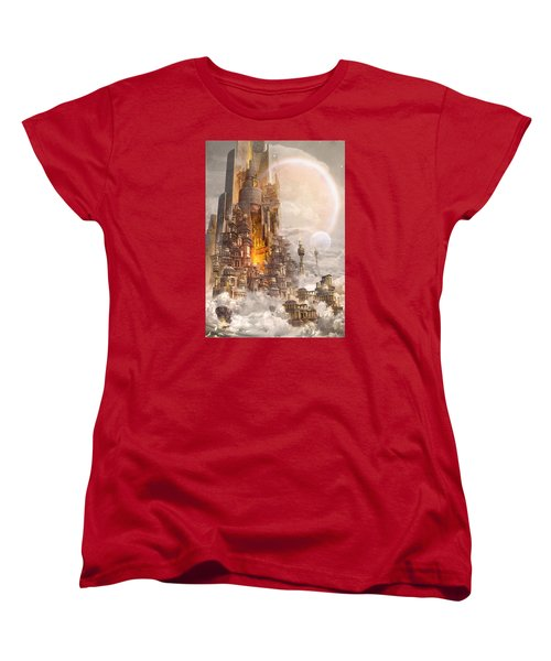 Women's T-Shirt (Standard Cut) featuring the digital art Wonders Tower Of Babylon by Te Hu