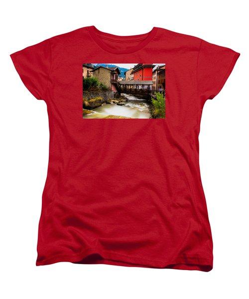 Wood Bridge On The River Women's T-Shirt (Standard Cut) by Cesare Bargiggia