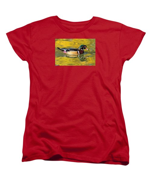 Wood Duck On Golden Pond Women's T-Shirt (Standard Cut) by Stephen  Johnson