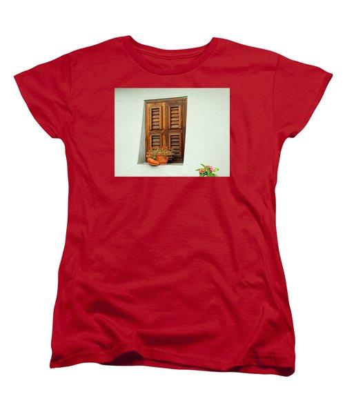 Women's T-Shirt (Standard Cut) featuring the photograph Wood Shuttered Window, Island Of Curacao by Kurt Van Wagner