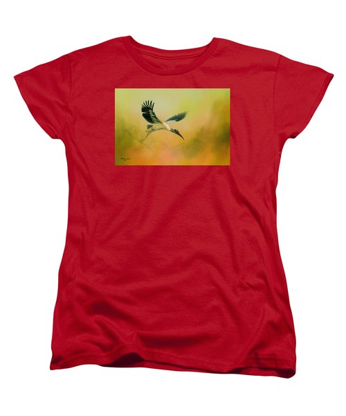 Women's T-Shirt (Standard Cut) featuring the photograph Wood Stork Encounter by Marvin Spates