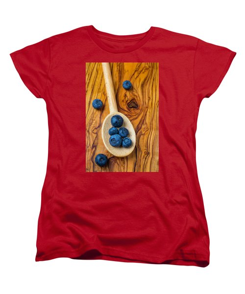 Wooden Spoon And Blueberries Women's T-Shirt (Standard Cut) by Garry Gay