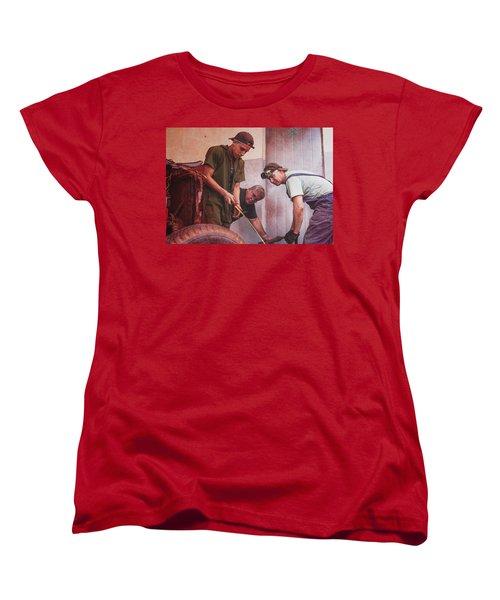Women's T-Shirt (Standard Cut) featuring the photograph Working On Classic Cars Havana Cuba by Joan Carroll