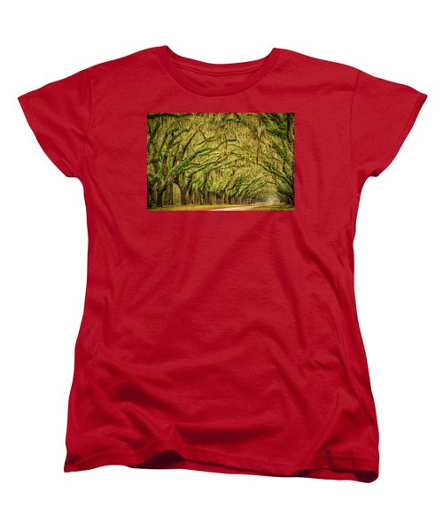 Women's T-Shirt (Standard Cut) featuring the photograph Wormsloe Drive by Phyllis Peterson
